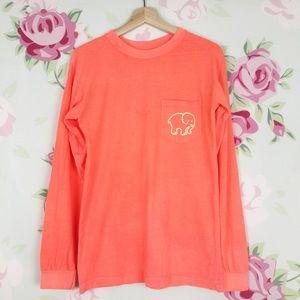 Ivory Ella Neon Orange Long Sleeve Tee Shirt S